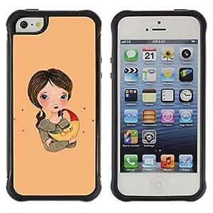 "Pulsar iFace Series Tpu silicona Carcasa Funda Case para Apple iPhone SE / iPhone 5 / iPhone 5S , Chica Dibujo Arte Noche Madre Chica"""