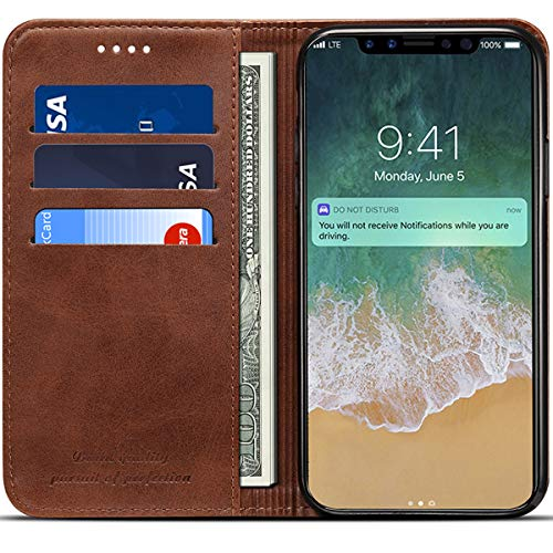 Brown Leather Folio Case - Wallet Case Compatible 2018 iPhone Xs/ 2017 iPhone X, PU Leather Wallet Case Folio Flip Cover, Brown, 5.8 inches