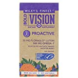 Wiley's Finest Bold Vision Eye Health and Vision Supplement with Lutein, Zeaxanthin, Bilberry, Omega-7, Astaxanthin plus Vitamin E and Zinc Softgels 60 Count