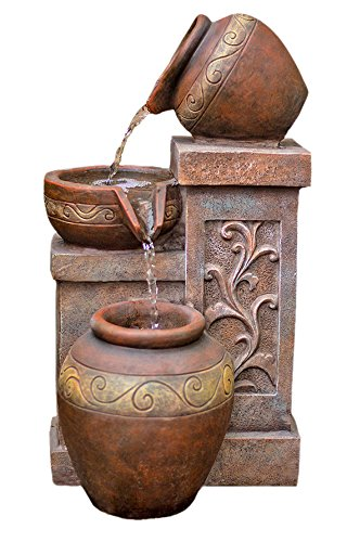 Harmony Fountains Photina Terracotta 17'' Bowl Fountain w/LED Lights: 17'' Polyresin Bowl Outdoor Water Feature for Gardens & Patios. Hand-crafted Design. HF-B11-17LT by by Harmony Fountains