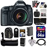 Canon EOS 5D Mark III Digital SLR Camera with EF 24-105mm L IS USM Lens with 64GB Card + Battery & Charger + Grip + Backpack Case + 3 Filters + HDMI Cable + Accessory Kit
