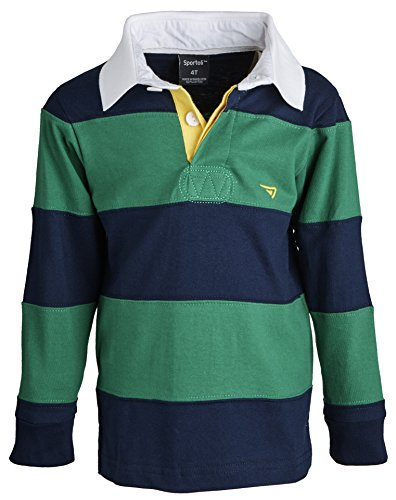 Sportoli174; Little Boys 100% Cotton Wide Striped Long Sleeve Polo Rugby Shirt - Green (Size 3) (Rugby Pique Cotton)