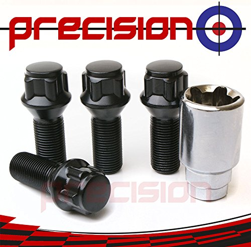 Precision Black Chrome Locking Alloy Wheel Bolts for Mini Roadster Part No.B425BB149