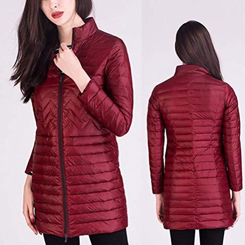 Piumini Giacche Rosa Invernali Eleganti Lunga Libero Leggero Donna Inverno Outdoor Coreana Manica Plus Prodotto Grazioso Tempo Outerwear Collo Piumino Moda Packable nBw1qzpnR