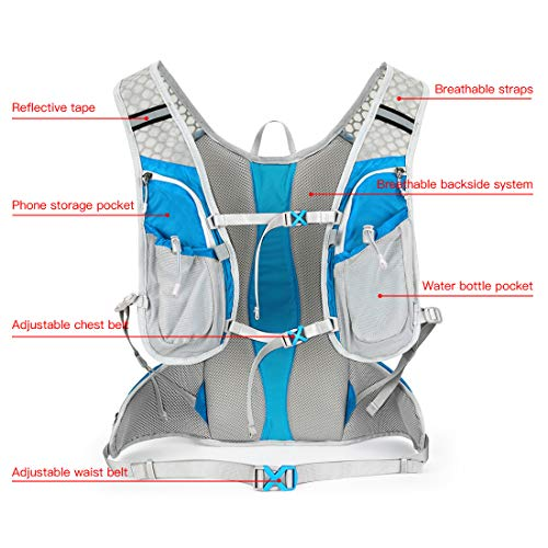 IBTXO Hydration Pack Backpack 12L Outdoors Marathoner Running Race Hydration Vest with Water Bladder for Hiking Skiing Running Cycling Camping Fits Men and Women (Blue-Only Backpack)