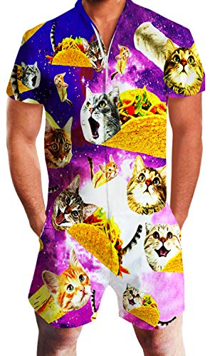 Men Jumpsuit Funny Cat Romper Short sleeve with a zip - jumpsuit