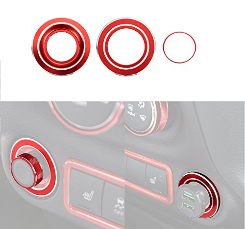Opar Red Side Mirror & Cigarette Lighter Cover Trim for 2011 - 2015 Jeep JK Wrangler & - Mirror From Remove Scratches