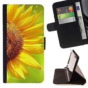 For Samsung Galaxy S4 Mini i9190 (NOT S4) Case , Verano Verde Flor Amarillo- la tarjeta de Crédito Slots PU Funda de cuero Monedero caso cubierta de piel