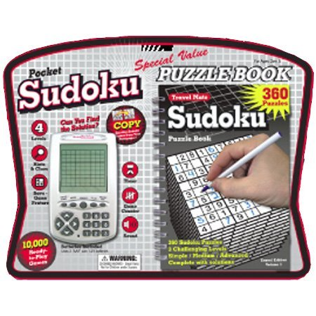 Sudoku Pocket Electronic Game with Puzzle Book ()