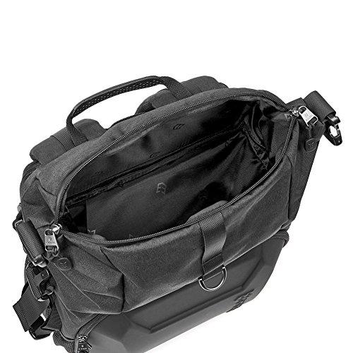 51xK30DjnsL - Camera Bag, Evecase Shell DSLR Camera/15.6-inch Laptop Double Buckle Water Resistant Backpack Travel Rucksack w/Rain Cover for Nikon Canon Fujifilm Sony Digital SLR, Mirrorless Camera - Black