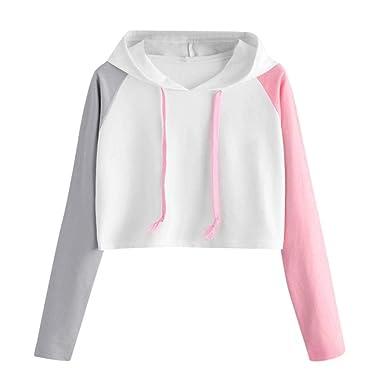 Femmes Sweat-Shirt À Capuche Manches Longues Sport Chemisier Swag Court  Lacet Hip-hop 0dcc420e01b8