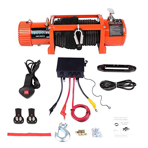 (Winches,ECCPP 12V 13000 LBS IP67 Waterproof Electric Winch+Solenoid Box Assembly+Hand/Wireless Remote Control+Roller Fairlead+Negative Wire+Overload Protection Device+Cover Truck Trailer Synthetic 4WD)