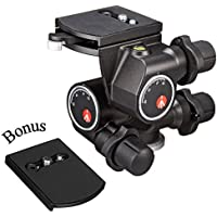 Manfrotto 410 Junior Geared Tripod Head with Quick Release and a ZAYKIR Quick Release Plate