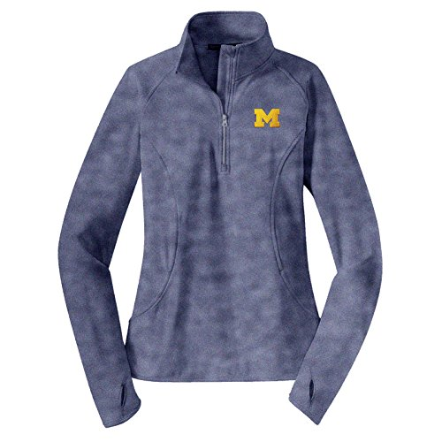 LQ07 - Michigan Wolverines Primary Logo Left Chest Ladies Stretch (1/4) Quarter Zip Pullover - Small - True Navy Heather