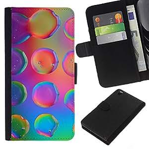 KingStore / Leather Etui en cuir / HTC DESIRE 816 / Gotitas de agua colorida rosada de neón brillante