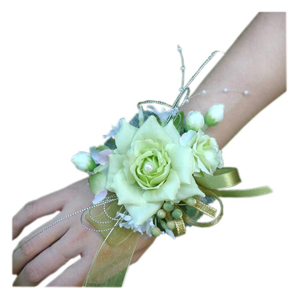 Arlai-Bridal-Wrist-Corsage-Wedding-Party-Artificial-Flower-Bridesmaid-Brooch-Wedding-Bouquet-Decoration-Pack-of-1-Light-Green
