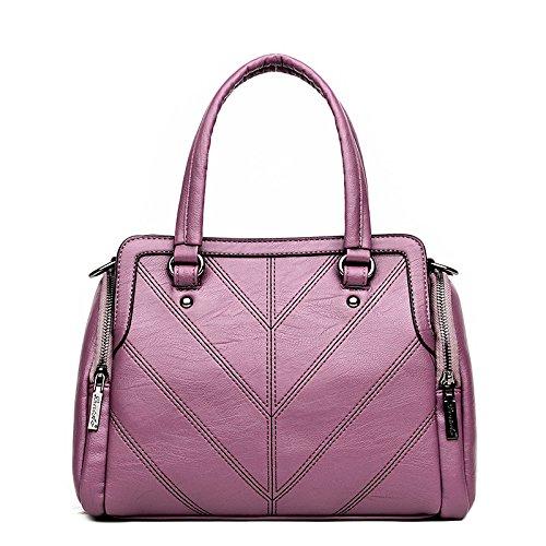 Meoaeo La Nueva Moda Bolsos Bolso De Cuero Claret Violet