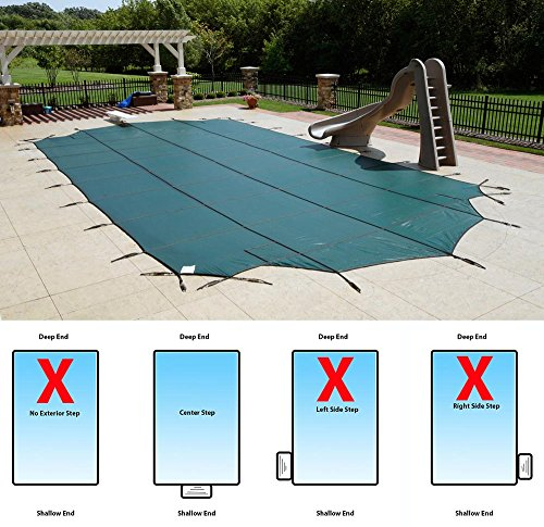 Arctic Armor Super Mesh Safety Cover for 18ft x 36ft In-Ground Pools with CENTER Step Section- 15 Year Warranty Color: Green (WS742G)