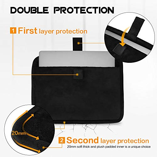 FYY 12-13.5'' [Premium Leather] Laptop Sleeve Case Cover Bag for MacBook Pro/ MacBook Air/ iPad Pro 12.9 2018 2017 2016, Laptop Bag for 12''-13.5'' Surface Lenovo Dell HP ASUS Acer Chromebook Black by FYY (Image #4)