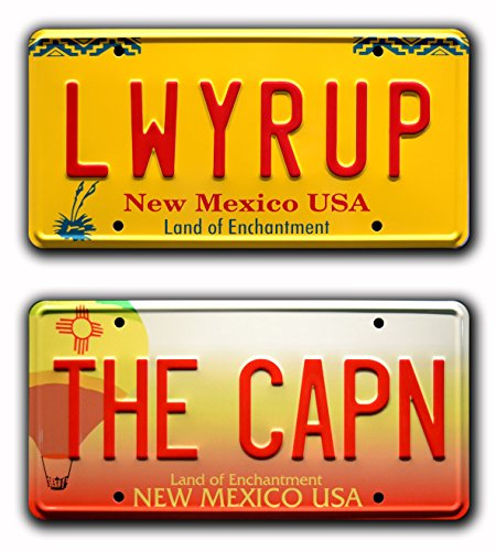 Celebrity Machines Breaking Bad | The CAPN & LWYRUP | Jesse Pinkman Saul Goodman Heisenberg | Metal Stamped Vanity Prop License Plate Combo
