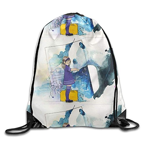 Little Girl And Panda Gym Drawstring Backpack Unisex Portable Sack Bag (Pack Arcteryx Cover)