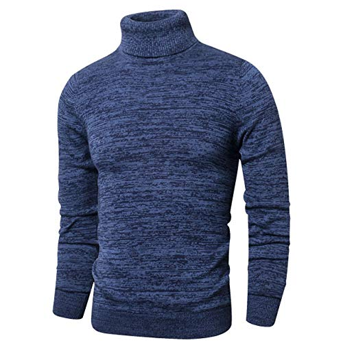 (LTIFONE Mens Slim Kintted Long Sleeve Turtleneck Pinstriped Pullover Sweaters(Blue,L))