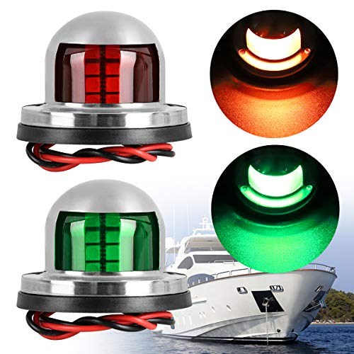 Linkstyle 2Pcs Bow Lights for Boats 12v Marine LED Boat Navigation Lights[Red & Green LED], Waterproof Boat Bow Light Bow and Stern for Pontoon Yacht Skeeter Sailing Lights[Stainless Steel Shell] ()