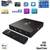 ESHOWEE Android 6.0 TV Box X96 S905X Quad-core 2G + 16GB with a Wireless Keyboard wifi smart set-top boxes 64 Bits and True 4K Playing