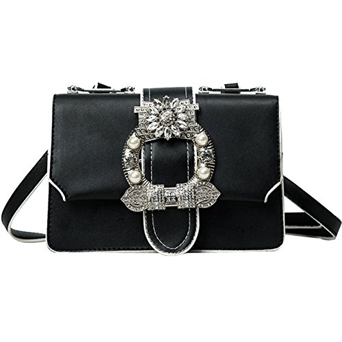 Bag Fashion Leather PU Black Bag Crossbody Bag Crystal Women Floral Rhinestone Shoulder YAOSEN n8vw5qxa6c