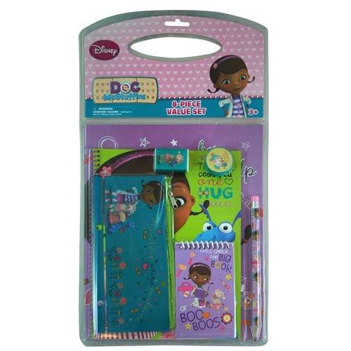 Disney Doc McStuffins 8pc Value Pack School Supplies Set - Portfolio Folders, Pencil, Pencil Pouch, Memo Pad, Notebook, Eraser, Sharpener