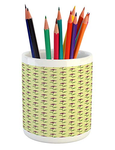 Lunarable Echinacea Pencil Pen Holder, Repetitive Pattern of Cone Flowers with Peduncle and Leaves, Printed Ceramic Pencil Pen Holder for Desk Office Accessory, Pale Yellow Green and Multicolor