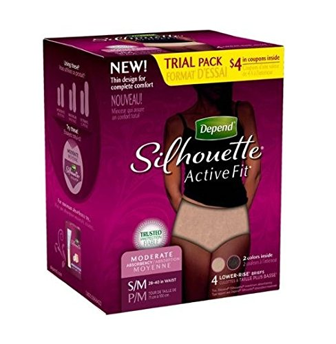 - Depend 4 Pack Silhouette Women Active Fit Lower-rise Brief Small/medium 2 Black and 2 Tan