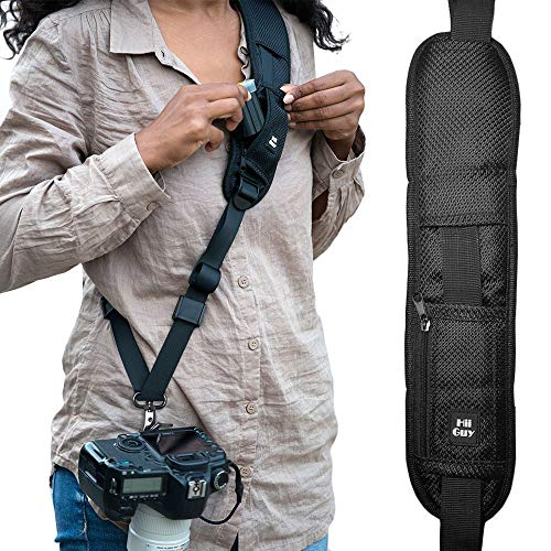 HiiGuy Camera Strap, Adjustable Padded Sling for All SLR and DSLR Cameras, Neck and Shoulder Strap, 32 Inches Long, with Screw Mount, Safety Tether