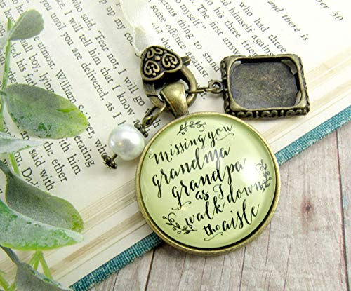 Bouquet Charm Bridal Memorial Grandma And Grandpa Missing You On Wedding Day Loving Memory Vintage Bronze Custom Picture ()