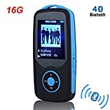HONGYU MP3 Player, RX06 HiFi 16GB Bluetooth MP3 Music Player with FM Radio and Voice Recorder 50 Hours Lossless Playback & Expandable up to 64GB(Blue)