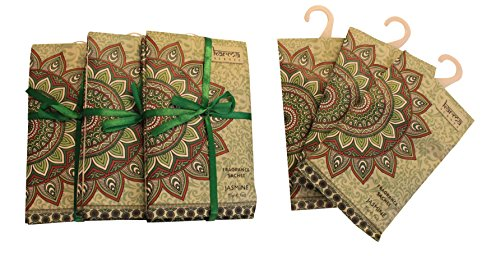 Premium Jasmine Scented Sachets for Drawers, Closets and Cars, Lovely Fresh fragrance, Lot of 12 Bags, By Karma Scents