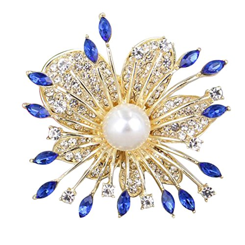 Demarkt Pearl Flower Brooch Pin Wedding Pin Brooch With Plain Crystals (Blue)