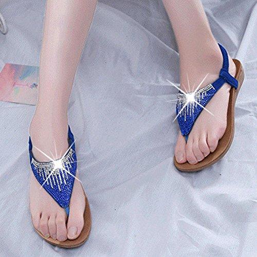 Elevin (tm) Kvinnor Sommarens Mode Pärlstav / Bandage / Paljett Bohemia Plattform Platt Flip Flop Sandal Skor Blå