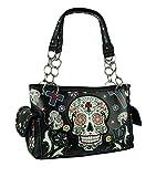 Sugar Skull Purse with Concealed Carry Pocket Day of The Dead Handbag, Black