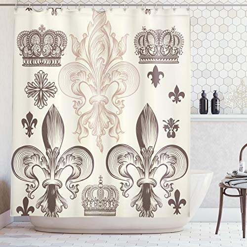 Ambesonne Fleur De Lis Decor Collection, Heraldic Pattern with Fleur De Lis and Crowns Tiara Iris Flowers Coat of Arms Knight, Polyester Fabric Bathroom Shower Curtain, 84 Inches Extra Long, Beige Tan (Fleur Iris De)