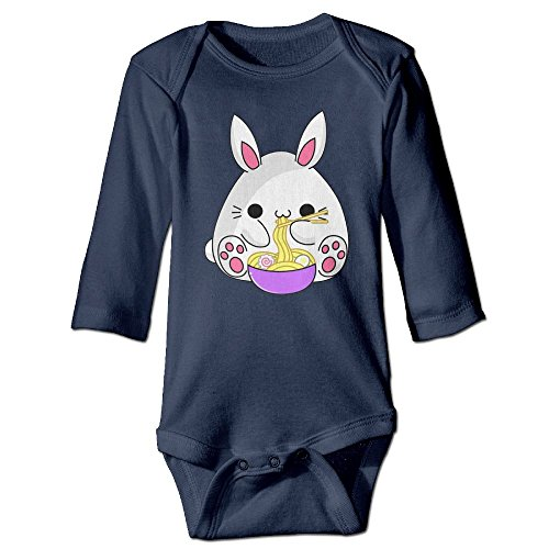 Cute Rabbit Eating Noodles Kids Baby Girl Child Toddler Long Sleeve Romper Bodysuit Jumpsuit Outfit Clothes -