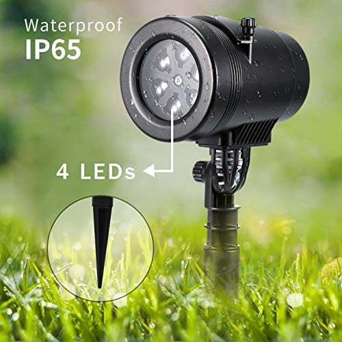 Bjour Halloween Christmas Light Projector Outdoor Indoor Decorations Waterproof with 14 Rotating Slides and 4 Speed Modes,9W, UL Listed, YG-FL02]()