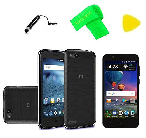 TPU Flexible Gel Skin Cover Phone Case + Screen Protector + Extreme Band + Stylus Pen + Pry Tool For ZTE ZFive G C Z557BL Z558VL (TPU - Black)