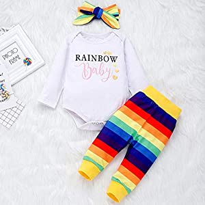 0-2Years,SO-buts Kid Toddler Baby Girl Newborn Fall Winter Clothes Long Sleeve Rainbow Print Romper+Pants+Headband…