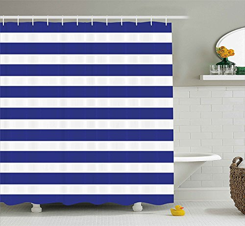 Nautical Marine Style Navy Blue and White Stripes Sailor Theme Geometric Pattern, Fabric Bathroom Decor with Hooks,White Navy Blue,36x72inch (Stripe Pattern Sailor)