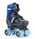 SFR Storm III Kids Adjustable Roller Skates - Black/Blue (UK 12j-2/EU 30.5-34)