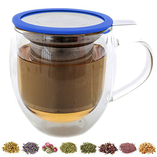 Teabloom Large Double Wall Tea Cup with Infuser and Lid / Coaster (Blue) - 430ml/15oz (Tea Steeping Cup compare prices)