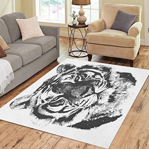 Pinbeam Area Rug Stripes Tiger Distress Cat Pattern Feline Layers Portrait Home Decor Floor Rug 3' x 5' Carpet
