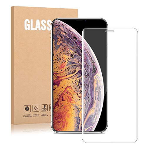 iPhone Xs and iPhone X Tempered Glass Screen Protector - Dtdepth Real Full Coverage Full Glued All Transparent Ultra Sturdy 5D Touch Screen Protector with Curved Edge to Edge for iPhone X&Xs 5.8 inch