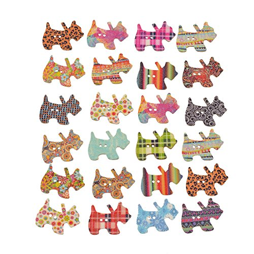 Souarts Pack of 100pcs Mixed Random 2 Holes Dog Shape Wood Wooden Buttons for Sewing Crafting ()